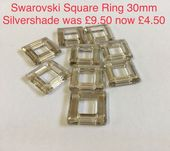 Swarovski  30mm Square Ring Pendant Silver Shade